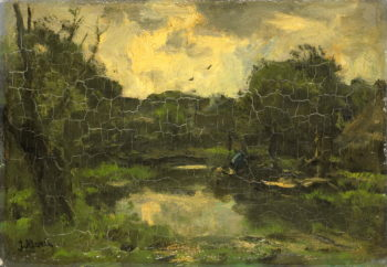 Landschap met schuit | Jacob Maris | oil painting