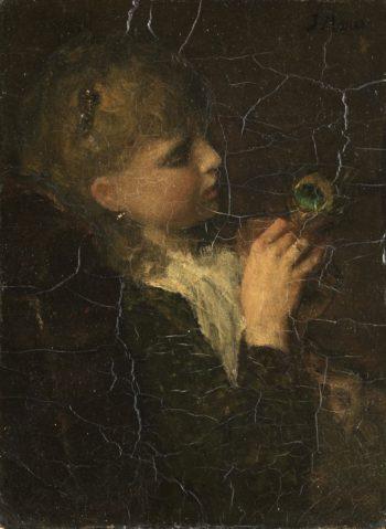 Meisje met pauwenveer | Jacob Maris | oil painting