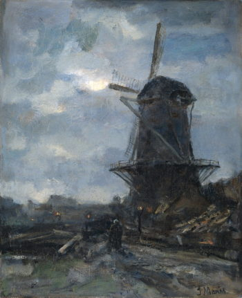 Molen bij maanlicht | Jacob Maris | oil painting