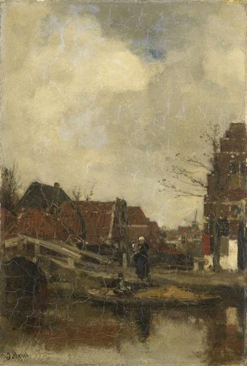 Oud buurtje aan het water | Jacob Maris | oil painting