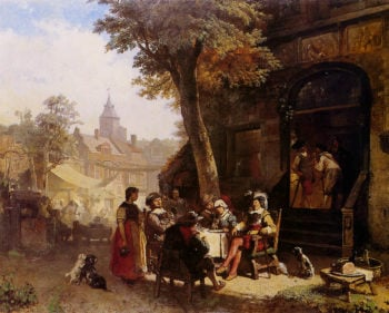 People in front of Inn | Jacob Maris | oil painting