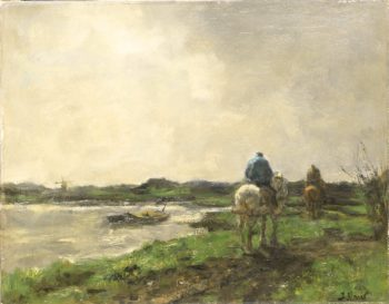 Riders on a Tow Path | Jacob Maris | oil painting