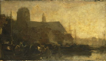 Schepen in de haven van Dordrecht | Jacob Maris | oil painting