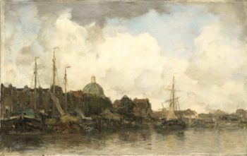 Stadsgezicht met koepelkerk | Jacob Maris | oil painting