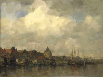 The Schreierstoren and the Buitenkant in Amsterdam | Jacob Maris | oil painting