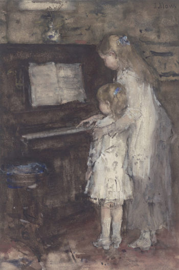 Two Girls Daughters of the Artist at the Piano | Jacob Maris | oil painting