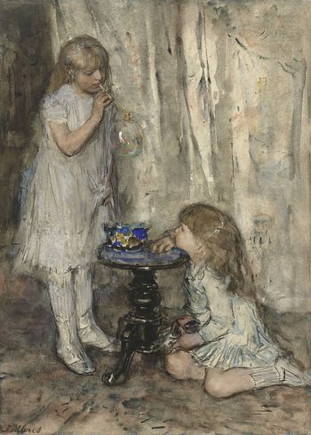 Two Girls Daughters of the Artist Blowing Bubbles | Jacob Maris | oil painting