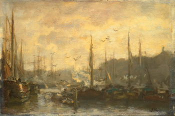 View of a Port | Jacob Maris | oil painting