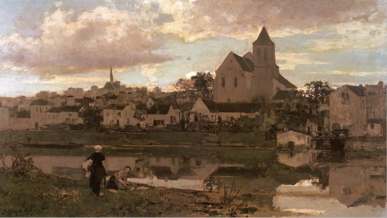 View of Montigny sur Loing | Jacob Maris | oil painting