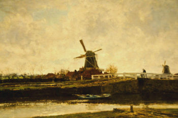 View of the Mill and Bridge at the Noordwest Buitensingel in The Hague | Jacob Maris | oil painting