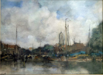 View of the new port at the Zuid Kolk in Delft | Jacob Maris | oil painting