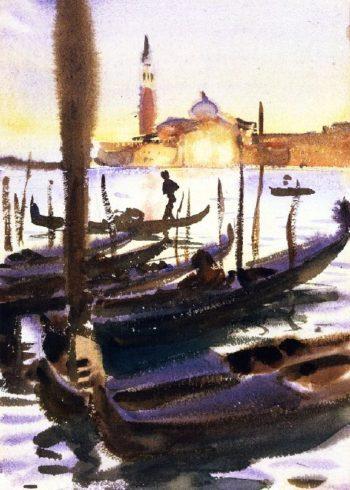 Venice Gondolas off San Giorgio Magiore | John Singer Sargent | oil painting