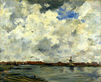 Windmill and Houses beside the Water Stormy Sky | Jacob Maris | oil painting