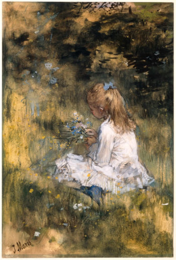 Young Girl Artist's Daughter picking Flowers in the Grass | Jacob Maris | oil painting