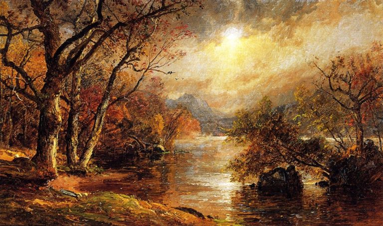 A Misty Morning at Greenwood Lake | Jasper Francis Cropsey | oil painting