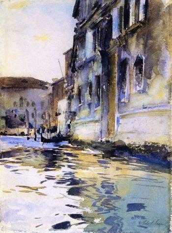 Venetian Canal Palazzo Contarini degli Scrigni e Corfu | John Singer Sargent | oil painting