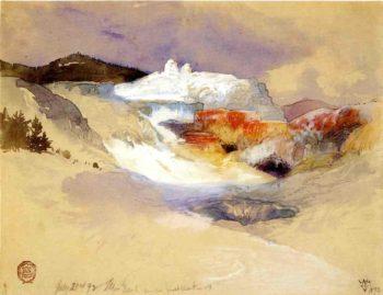 Hot Springs Yellowstone   Thomas Moran   oil painting