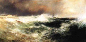 Stranded Ship on East Hampton Beach   Thomas Moran   oil painting