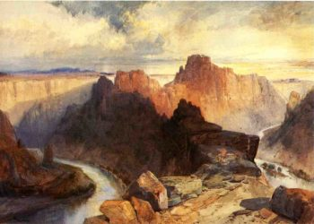 Summer Amphitheatre Colorado River Utah Territory   Thomas Moran   oil painting