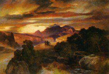 Sunset   Thomas Moran   oil painting
