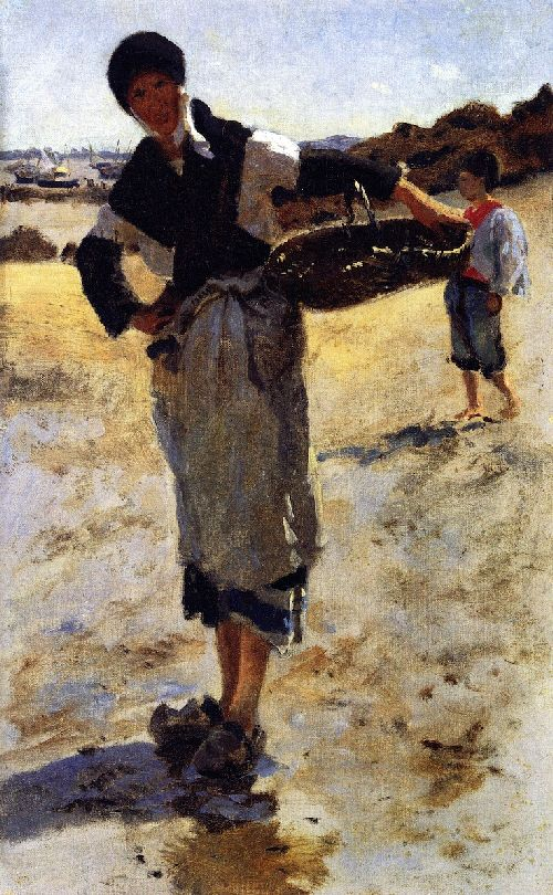 Study for Oyster Gatherers at Cancale | John Singer Sargent | oil painting