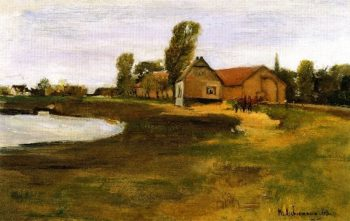 Village Street in MIlitsh Landscape with Pond | Max Liebermann | oil painting