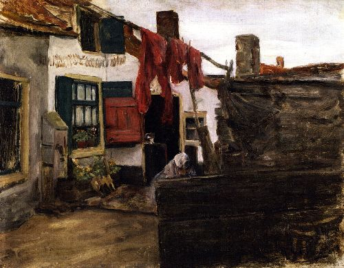 Corner of a Dutch Village with Washing Hung up to Dry | Max Liebermann | oil painting