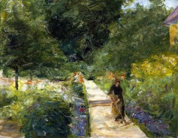 The Cutting Garden in Wannsee toward the West with a Woman Gardener on the Path | Max Liebermann | oil painting