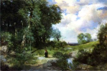 Young Girl in a Long Island Landscape | Thomas Moran | oil painting