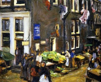 Street in the Jewish Quarter of Amsterdam | Max Liebermann | oil painting