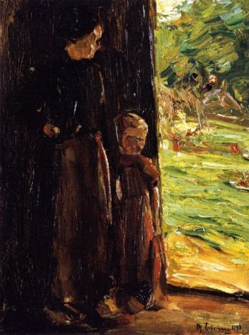 Peasant Woman with Child below a Door | Max Liebermann | oil painting