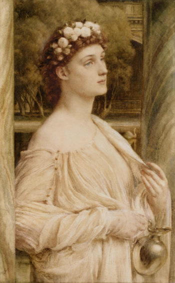 A Vestal Portrait Of Miss Violet Lindsay | Sir Edward John Poynter | oil painting