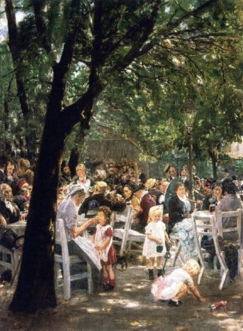 Munich Beer Garden The Augustine Brewery | Max Liebermann | oil painting