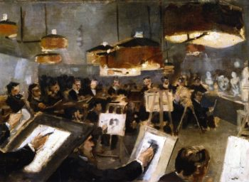 Drawing Class at the Academy | Theo van Rysselberghe | oil painting