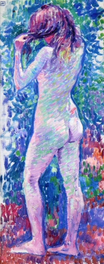 Nude from Behind Fixing Her Hair | Theo van Rysselberghe | oil painting