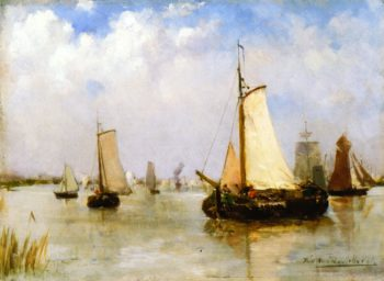 Sailing Boats on a River   Theo van Rysselberghe   oil painting