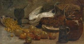 Still life with Pheasants   Theo van Rysselberghe   oil painting