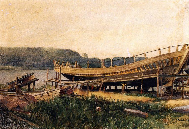 Shipbuilding Ipwich | Winslow Homer | oil painting