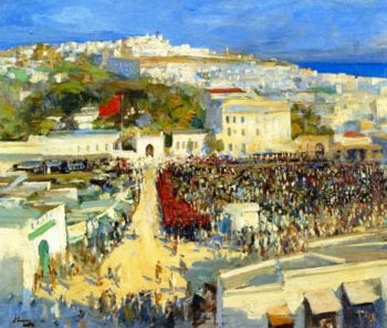 The Raising of the Moorish Flag on the German Legation | Sir John Lavery | oil painting