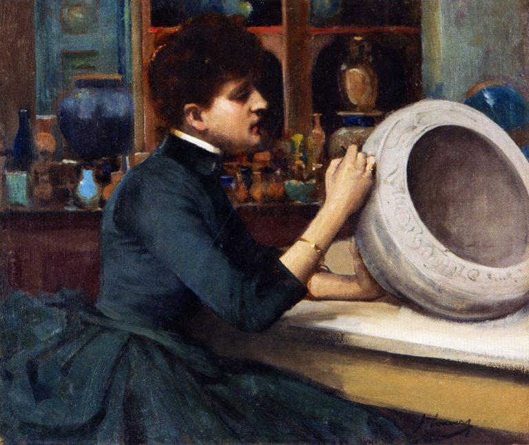 Woman Painting a Pot at the Glasgow International Exhibition | Sir John Lavery | oil painting