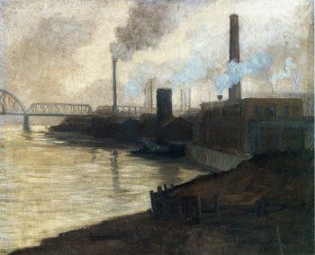 Industrial Scene Mills on the Monongahela | Aaron Harry Gorson | oil painting