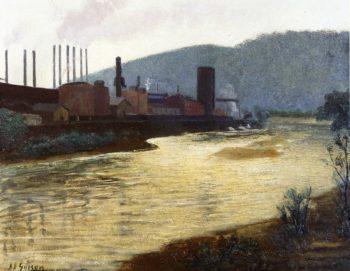 Monongahela River Pittsburgh Jones and Laughlin Steel Plant | Aaron Harry Gorson | oil painting
