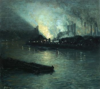 Pittsburgh Industrial Nocturne | Aaron Harry Gorson | oil painting