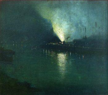 Steel Mills Nocturne Pittsburgh | Aaron Harry Gorson | oil painting