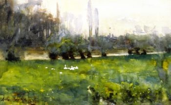 Swans in a Meadow | Arthur Melville | oil painting