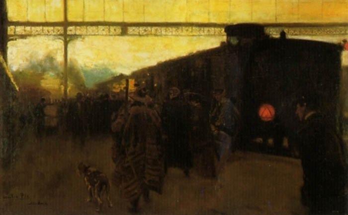 En la Estacion   Cecilio Pla y Gallardo   oil painting