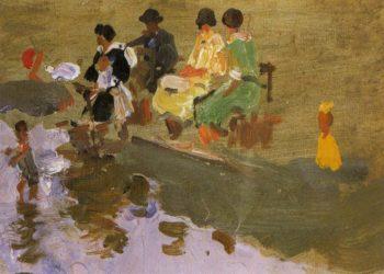 Escena en la palya | Cecilio Pla y Gallardo | oil painting