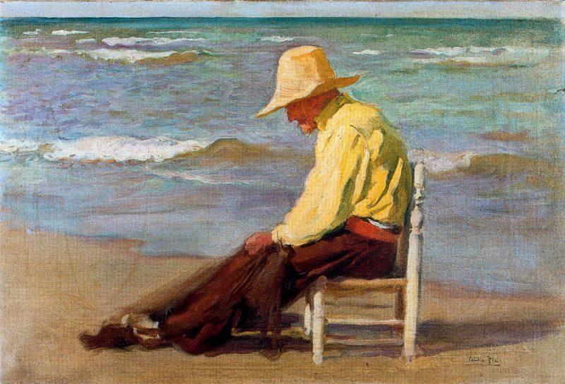 Hombre en la Playa | Cecilio Pla y Gallardo | oil painting