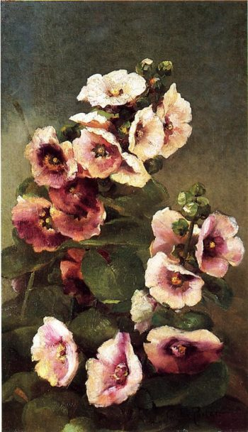Pink Hollyhocks | Charles Ethan Porter | oil painting