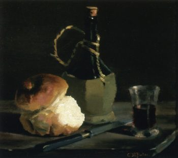 Still Life with Bread and Wine Bottle | Charles Ethan Porter | oil painting